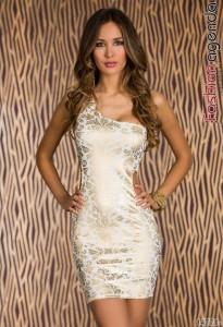 Rochie alb cu auriu