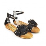 sandale negre cu pietre