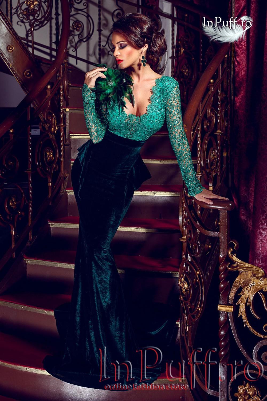 rochie-lunga-catifea-verde-si-pene-1414746086-4 (1)
