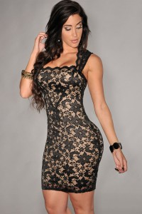Black-Lace-Nude-Illusion-Dress-LC21036-2
