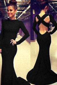 Black-Sleeved-Floor-length-Dress-with-Cutout-Back-LC6769-2