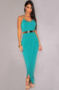 Sexy-Halter-Draped-Gold-Belted-Turquoise-Maxi-Dress-LC6876-4