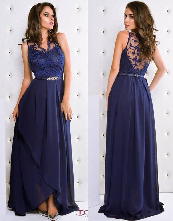 Rochie lunga albastru inchis