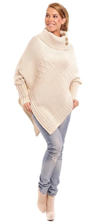 pulover tricotat bej pe gat
