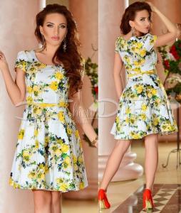 rochie cu imprimeu floral galben