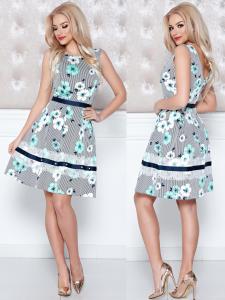 rochie menta cu imprimeu floral