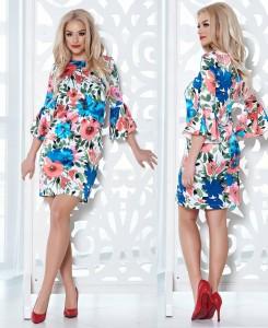 rochie din material satinat cu imprimeu floral