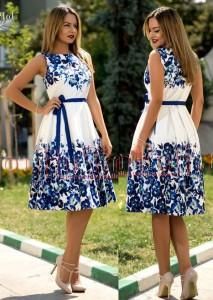 rochie alba cu imprimeu floral albastru