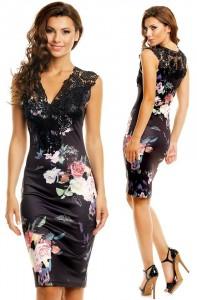 rochie cu dantela si imprimeuri