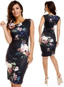 rochie negara cu imprimeu floral