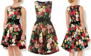 elegant-fit-and-flare-floral-dress-with-dip-hem