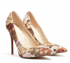 pantofi cu flori maro