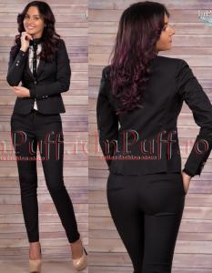 Costum elegant cu pantalon negru