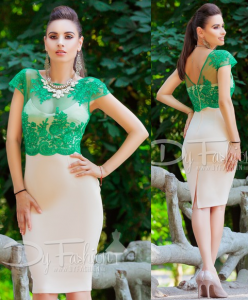 Rochie eleganta verde cu crem