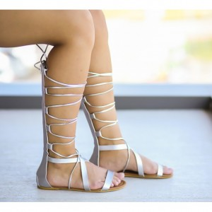 sandale gladiator argintii