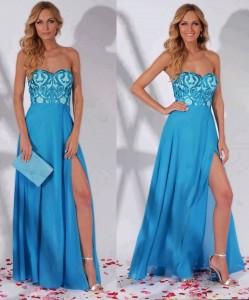 Rochie albastra lunga cu bust din dantela