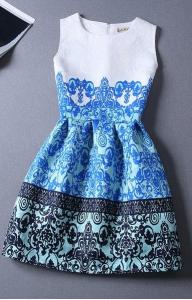 Rochie imprimeu albastru cu negru