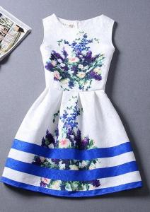 Rochie cu imprimeu albastru