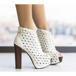 Botine dama albe perforate
