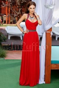 Rochie lunga rosie cu bretele