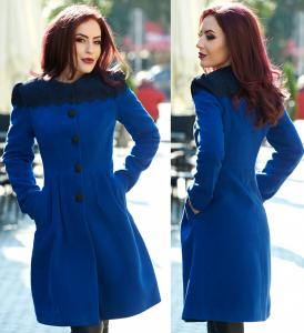 Palton iarna albastru