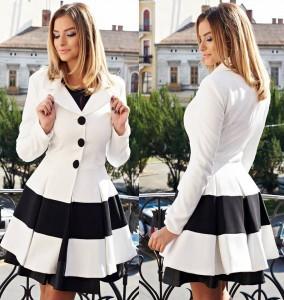 Palton de iarna alb cu negru