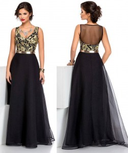 Rochie neagra lunga cu bust auriu