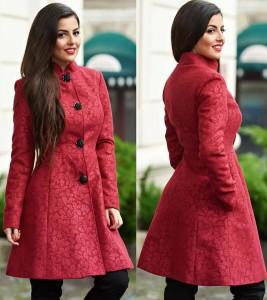 Palton dama burgundy
