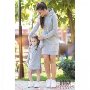 Rochii la fel mama fiica gri