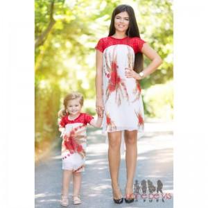 Set rochii mama fiica rosii