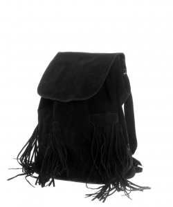 Rucsac dama negru cu franjuri