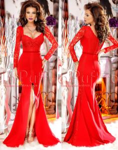 rochie lunga rosie pentru revelion