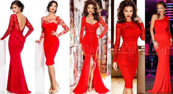 rochii rosii pentru craciun si revelion.