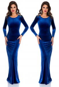 rochie din catifea albastra, lunga