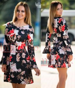 Rochie cu maneca lunga cu imprimeu floral