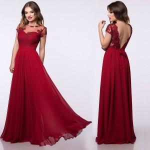 Rochie lunga rosie cu bust din dantela