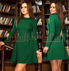 Rochie verde in clos cu maneca lunga
