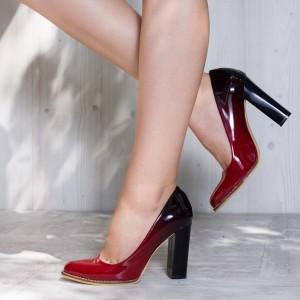 Pantofi in degrade cu toc gros