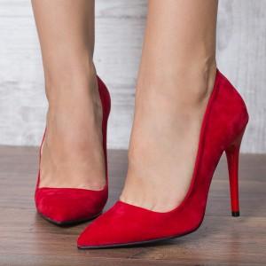 Pantofi stiletto rosii din catifea