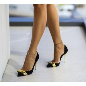 Pantofi negrii cu auriu