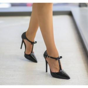 Pantofi negrii cu fundita