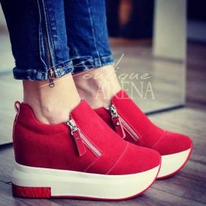 pantofi sport rosii cu fermoare