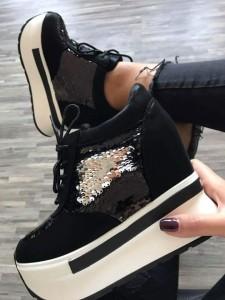pantofi sport cu platforma negrii