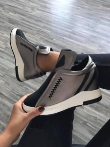 pantofi sport gri cu platforme