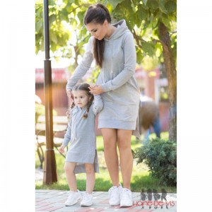 rochii mama fiica gri