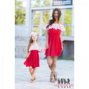 set rochii mama fiica rosii cu buline