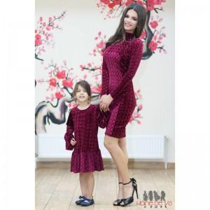 rochii mama fiica bordo