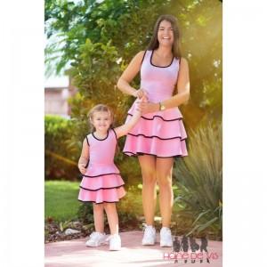 set rochii mama fiica roz cu volane