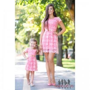 rochii elegante mama fiica roz