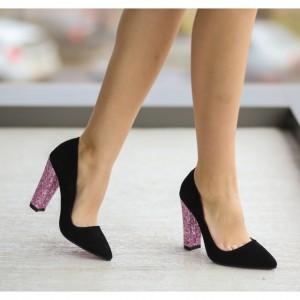 pantofi negrii cu toc gros